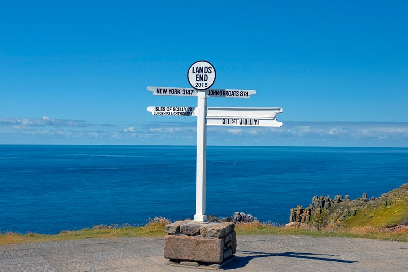 Land's End distance signpost, Cornwall