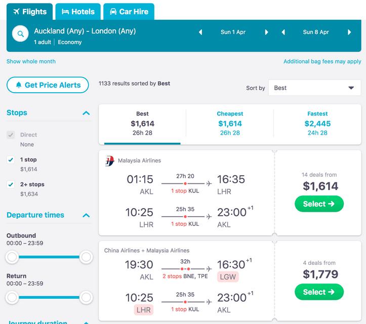 Computer Screenshot for Price Alerts