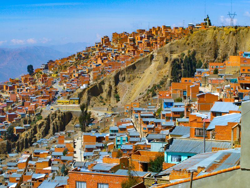 The rooftops of Bolivian capital city La Paz