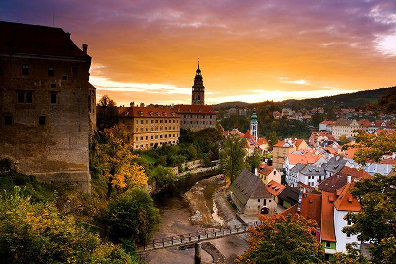 Вид на город Чески-Крумлов в Чехии