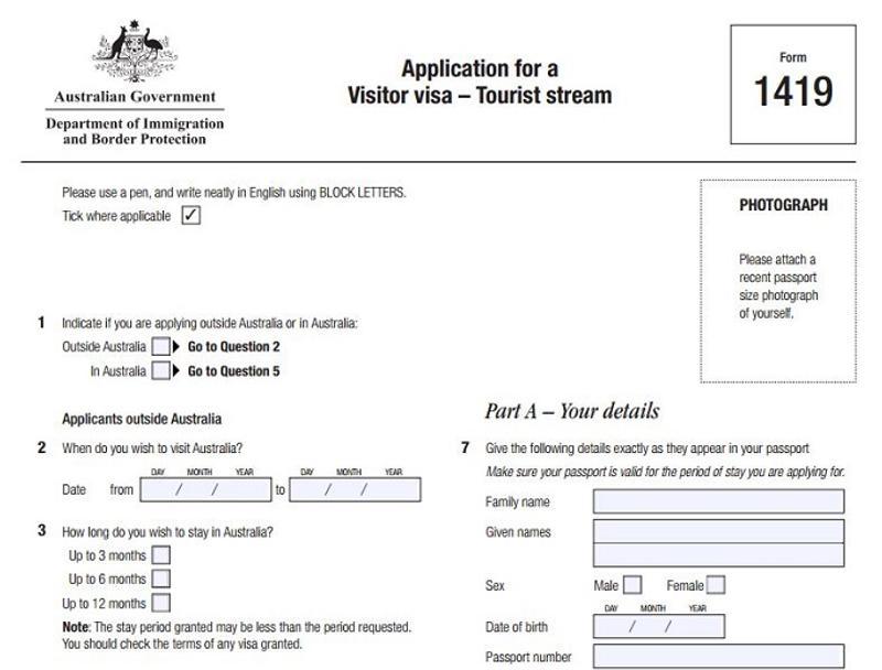 Panduan Mudah Membuat Visa Australia - Formulir Visa 1419