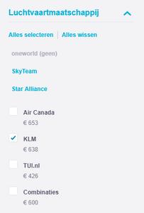 KLM aanvinken