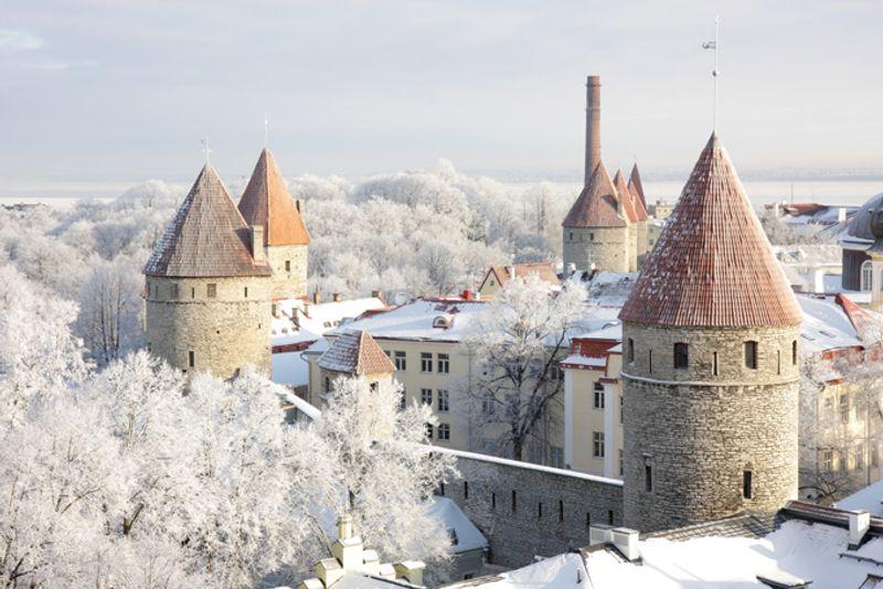 Вид на зимний Таллин, Эстония