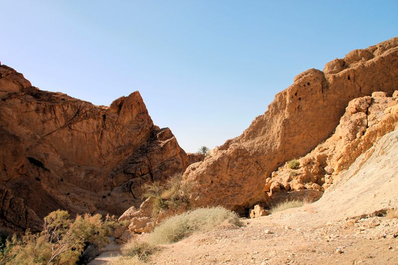 Vista delle montagne del deserto di Tozeur