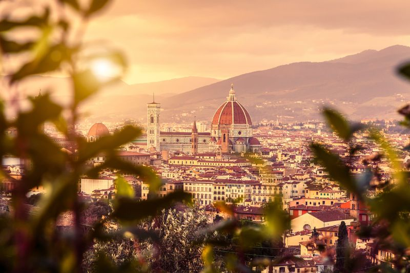 The city of Florence as seen from higher ground framed by leaves