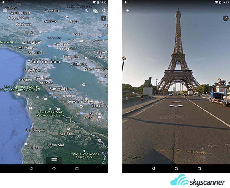 ตัวอย่างหน้าจอการทำงานของแอพพลิเคชั่น Google Earth
