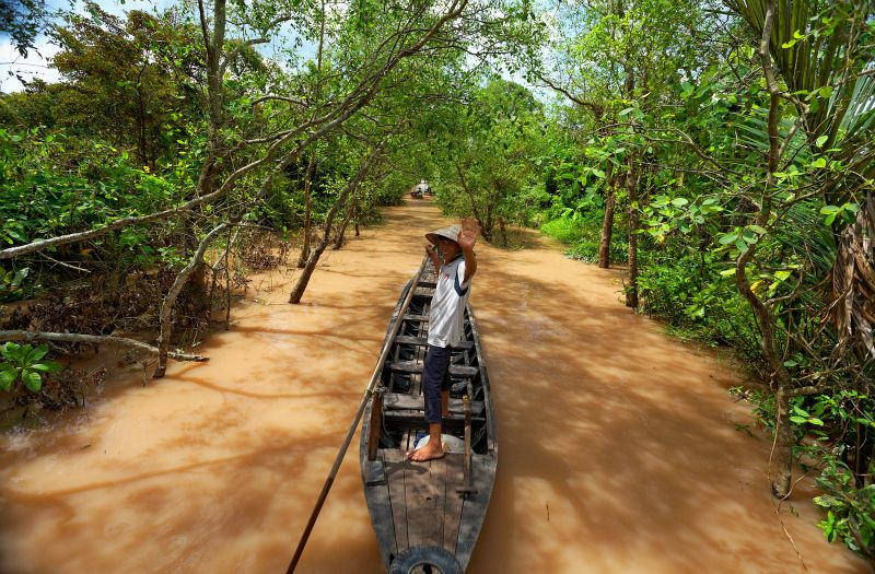 A scenic cruise ride along Mekong Delta