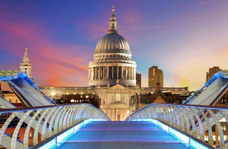 Millennium Bridge leading to Saint Paul's Cathedral in London