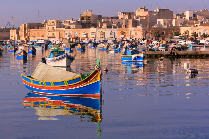 Boats in a harbour in Malta