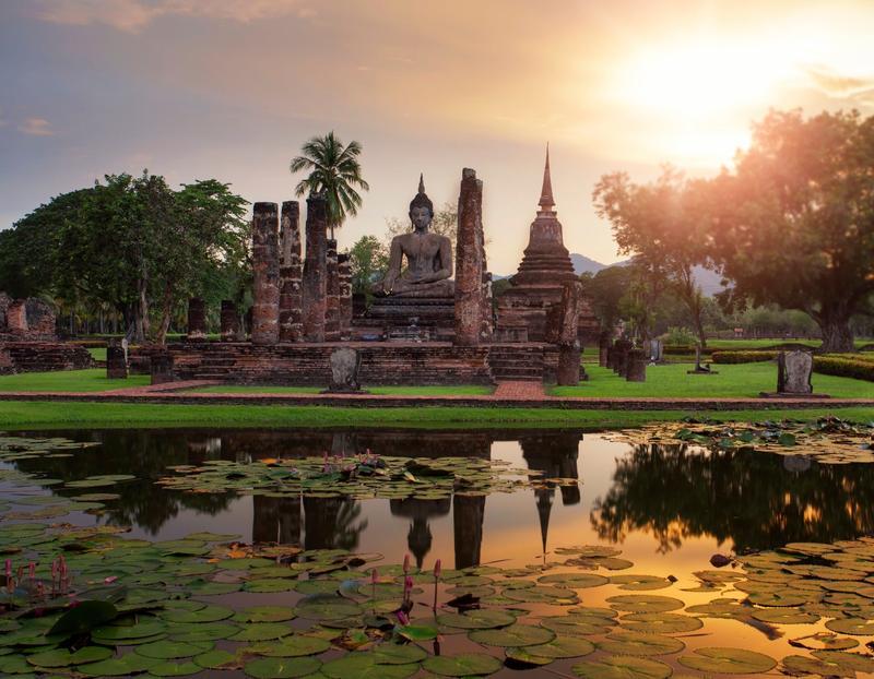 Temple bouddhiste à Sukhothai, en Thaïlande