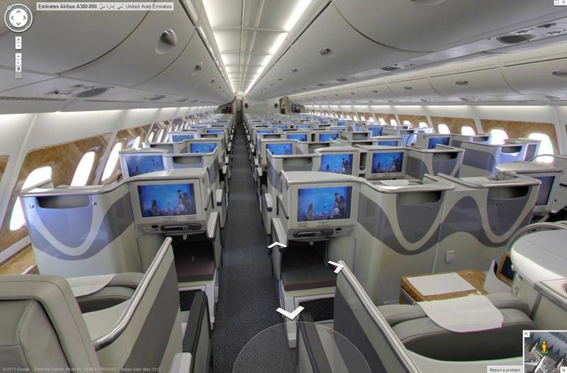 A bord d un airbus a380 avec google et emirates for Avion airbus a380 interieur