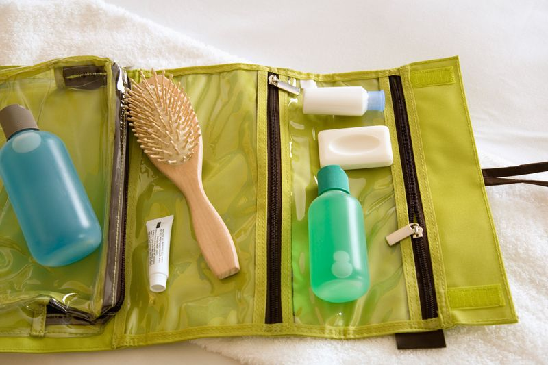 Toiletries packed in a travel bag
