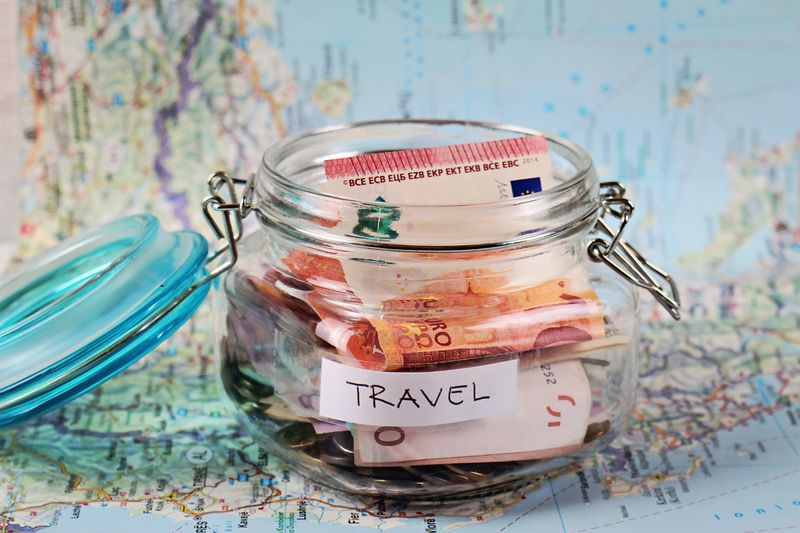 Travel money with map