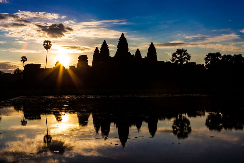 Sunrise at Angkor Wat near Siem Reap in Cambodia