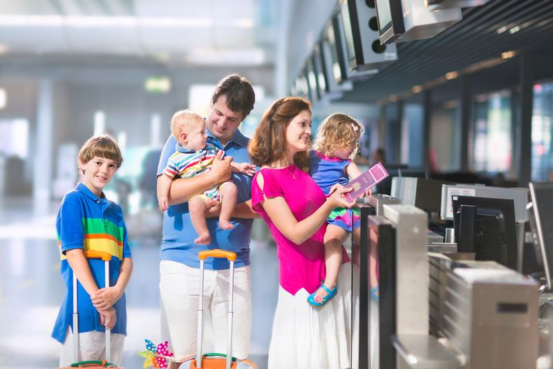 Family at check-in counter