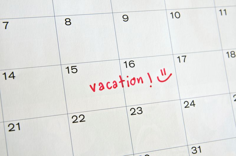 Calendar with vacation dates