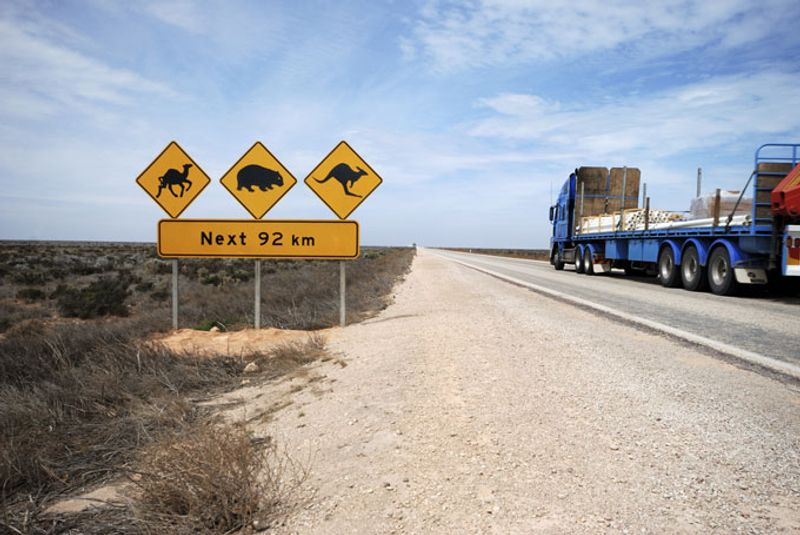 Driving the Nullarbor Plain.