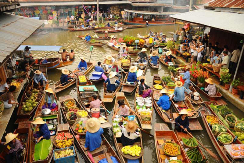 Плавучий рынок в Бангкоке, Таиланд