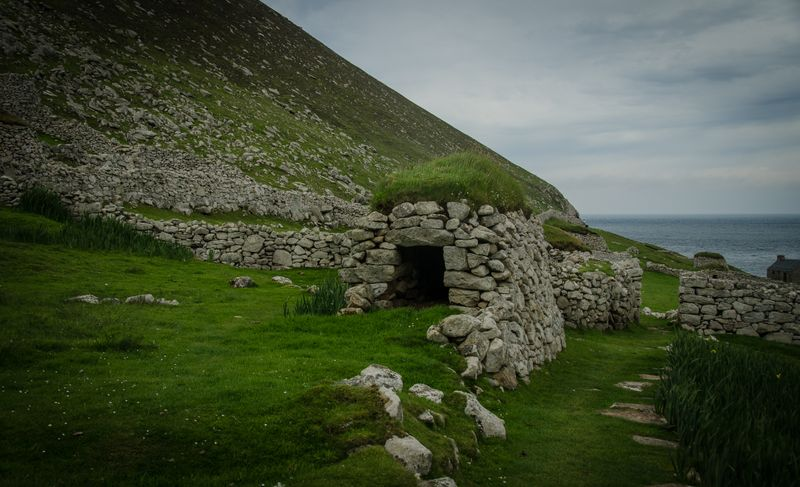Ruined settlements on St Kilda, Scotland