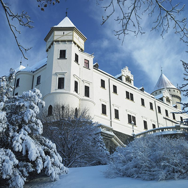 Замок Конопиште в Чехии зимой