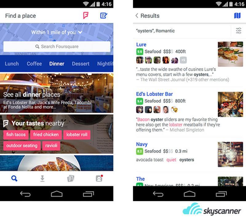 ตัวอย่างหน้าจอการทำงานของแอพพลิเคชั่น Foursquare