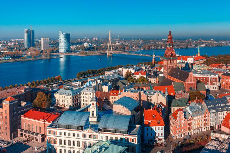 Вид на Старый город Риги с высоты