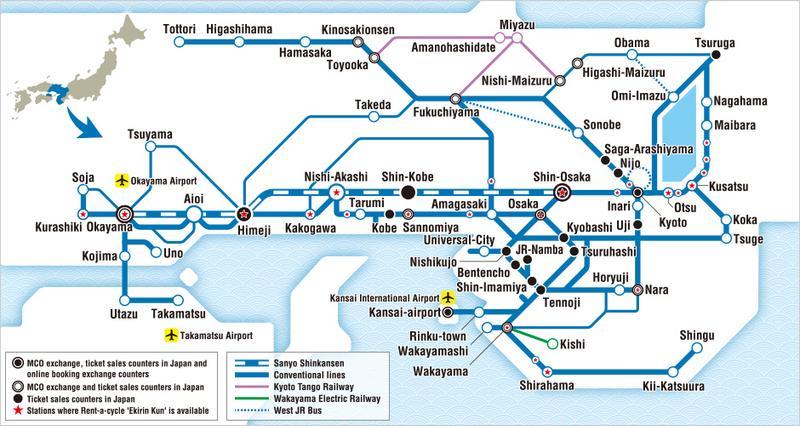 แผนที่รถไฟที่ใช้ได้สำหรับบัตร Kansai Wide Area Pass