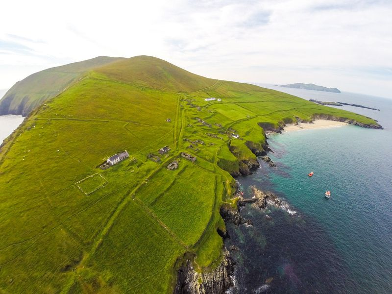 Aerial view of the coast of Great Blasket, Ireland