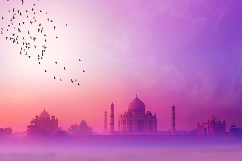 Тадж Махал в розовом тумане, Агра, Индия