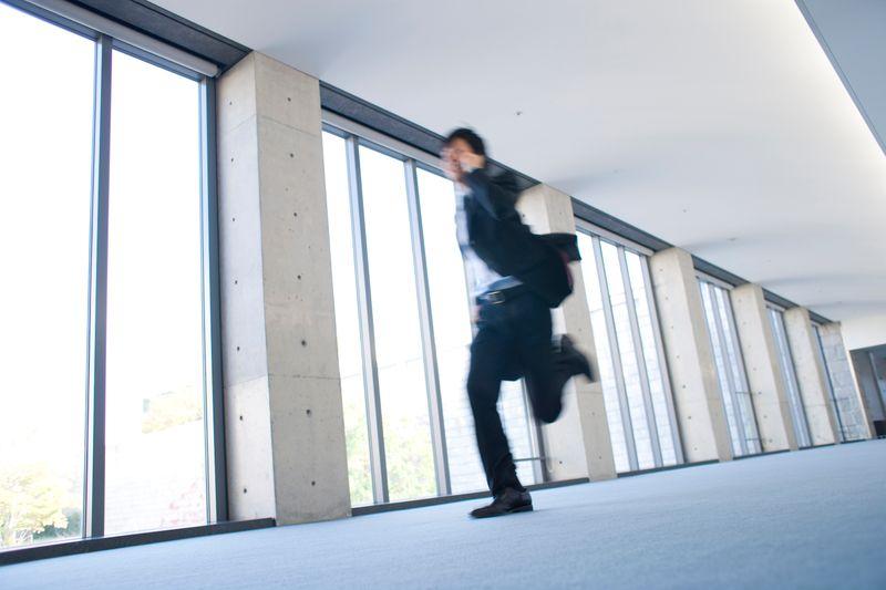 Man running through airport