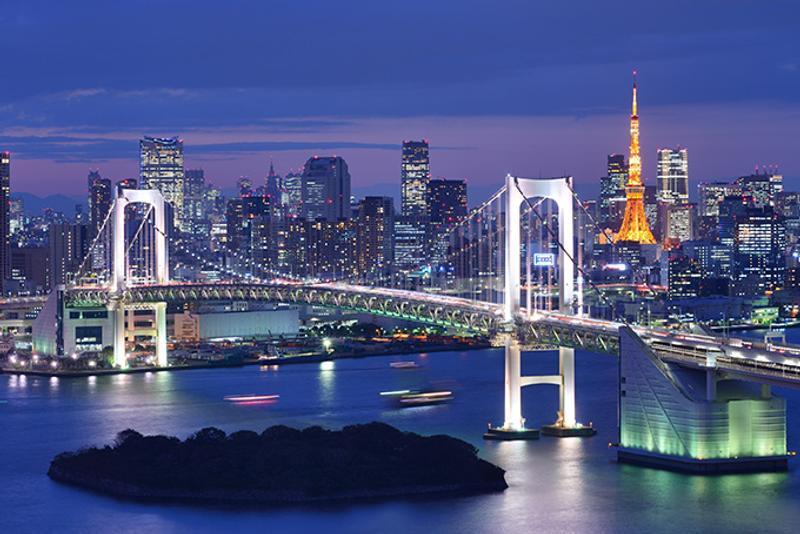 Вид на ночной Токио, Япония