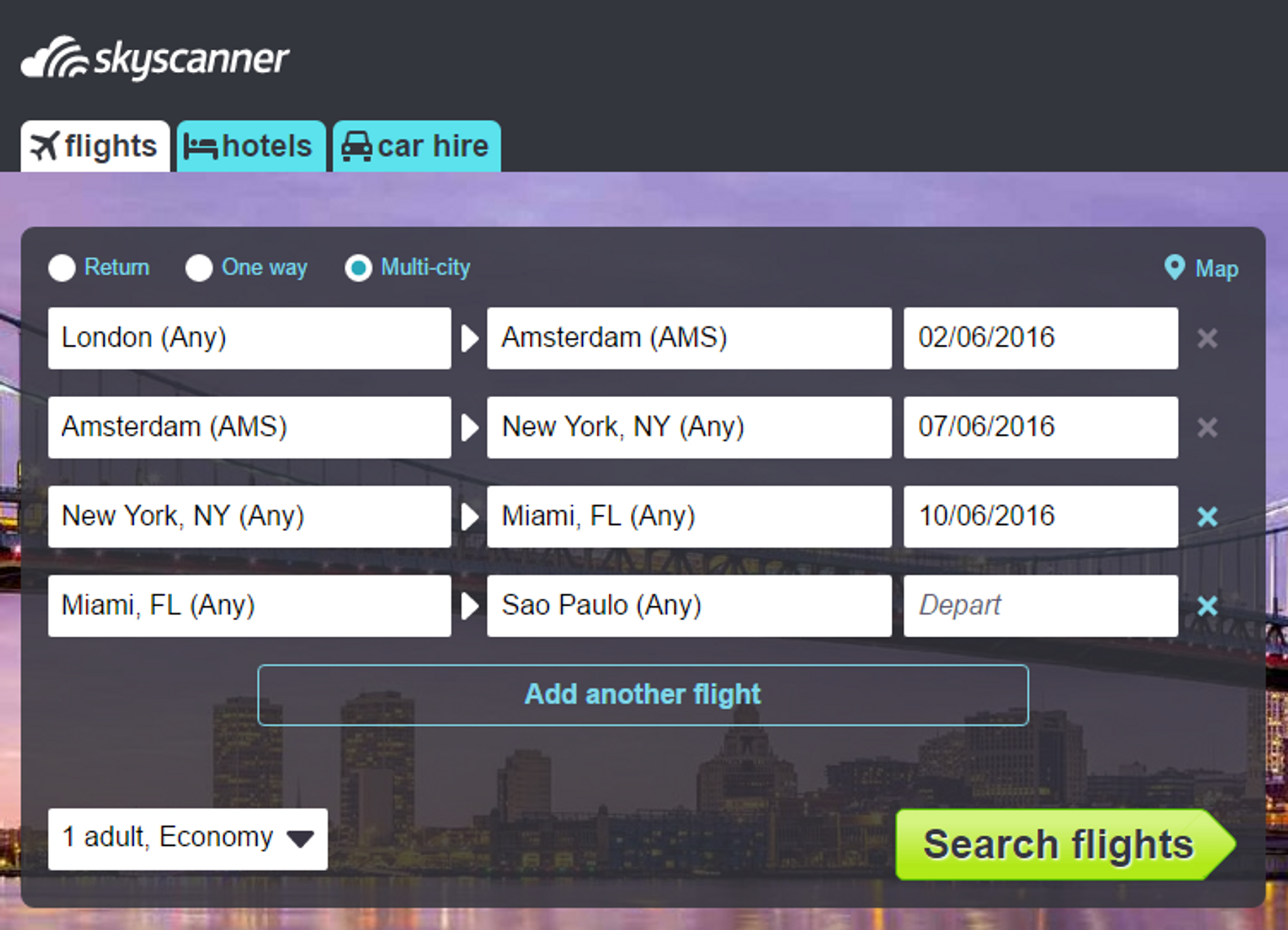 Screenshot Multi-City Search Skyscanner