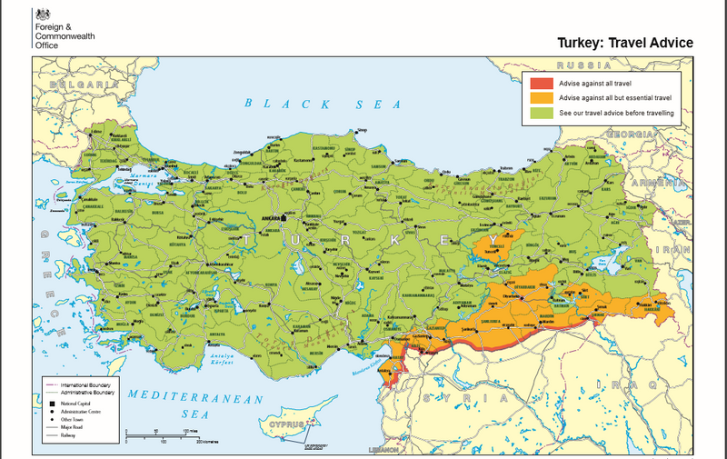 Map of safe and at risk areas to travel in Turkey