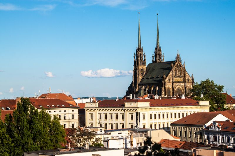 View of rooftops and a church in Brno, Czech Republic