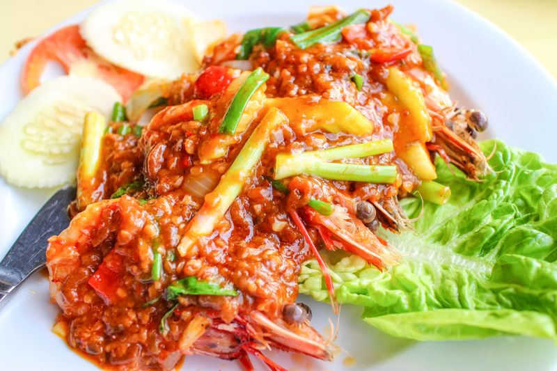 A bowl of fried shrimp with sauce served on Langkawi island.