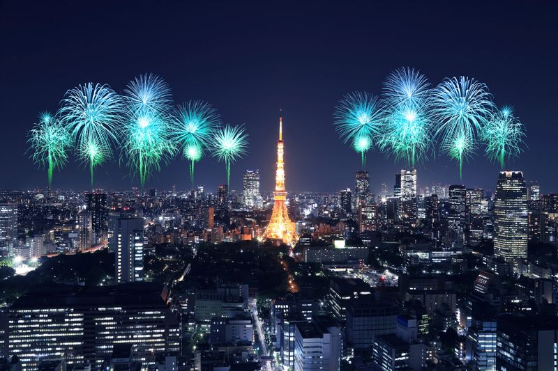 Tokyo Tower surrounded by fireworks