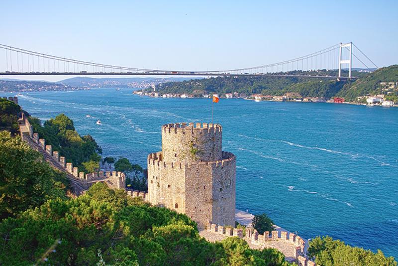 Вид с крепости Румелихисар на Босфор, Стамбул