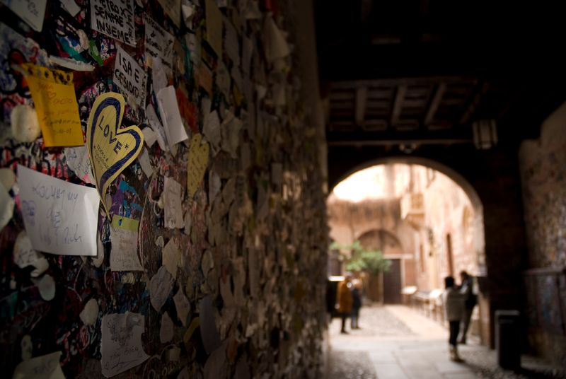 Love notes on a wall in Verona, Italy