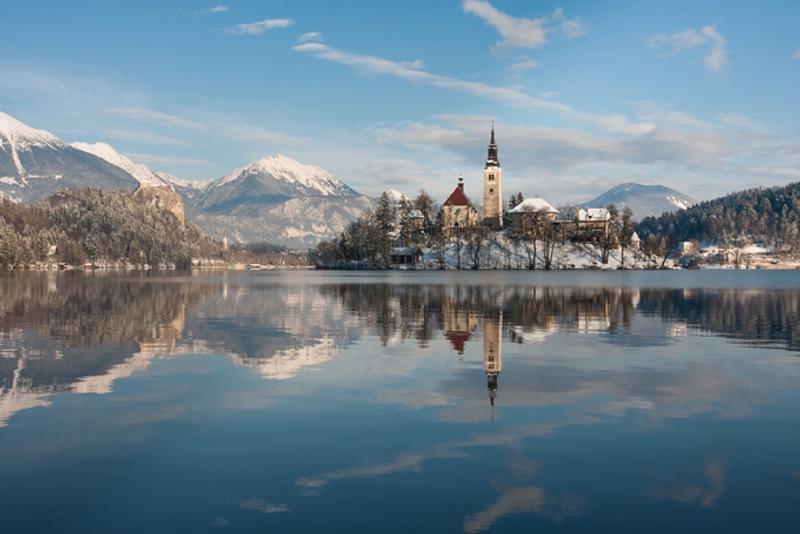 Озеро Блед зимой, Словения