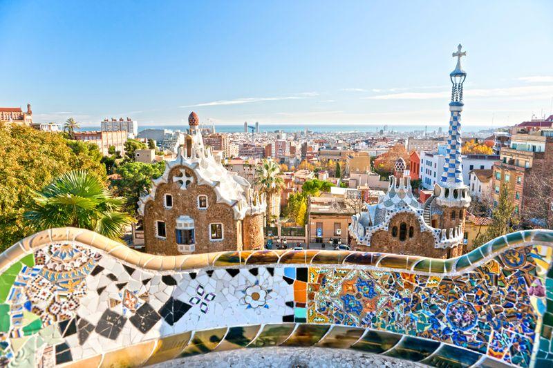 Vista de Barcelona desde la terraza del Park Güell