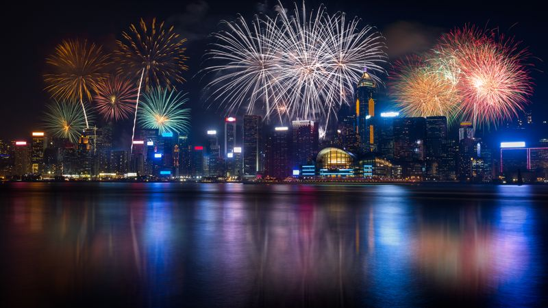 Fireworks by the water in downtown Hong Kong