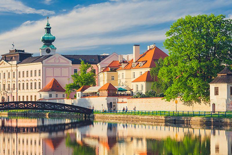 Ческе-Будеёвице на закате, Чехия