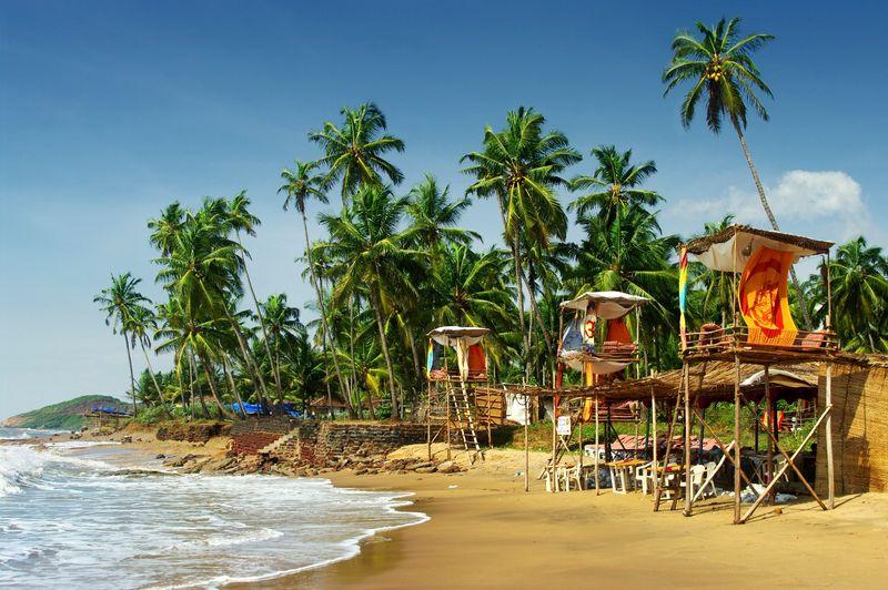 Райский пляж с хижинами и пальмами в Гоа