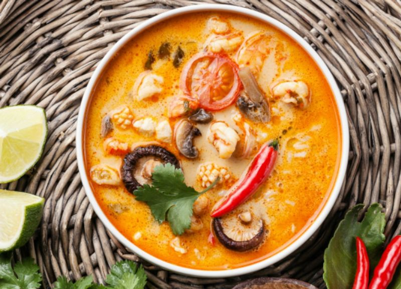 The super tasty and hot Tom Yum soup