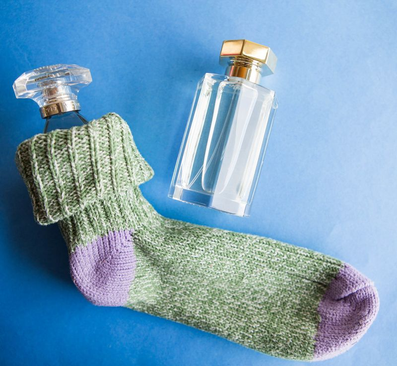 Fragrance bottle in socks