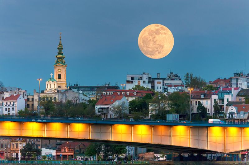 Giant moon over the city sights of Belgrade