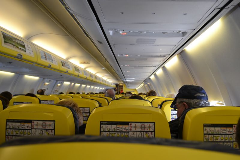 Ryanair flight cabin