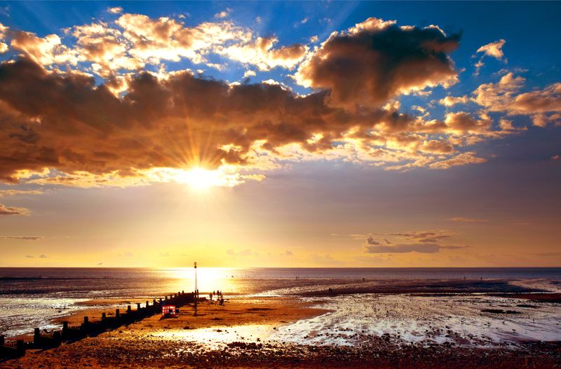 Hunstanton Beach at sunset