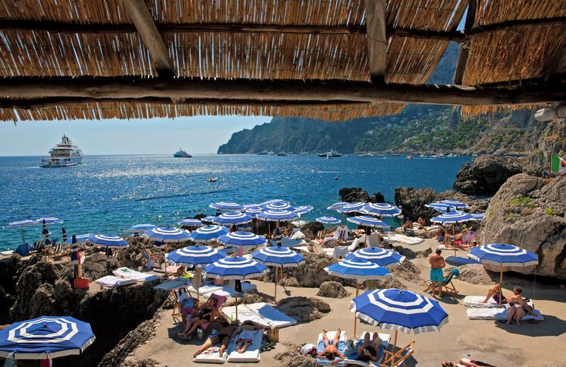 Der Strand von La Fontelina , Kampanien
