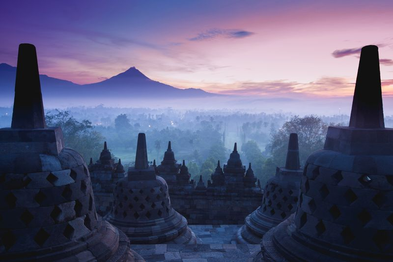 Breathtaking views across Borobudur, Yogyakarta